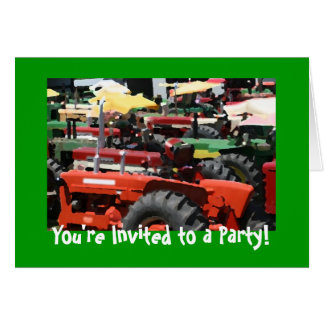 Tractor Invitation: Colorful tractor party Card