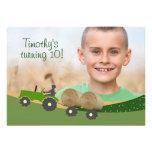 Tractor Invitation: Cute Hay Bale Farm Scene