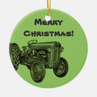 Tractor Ornament: Add Your Business Name Ceramic Ornament