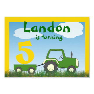 Tractor Party Invitation: Age in Cart 13 Cm X 18 Cm Invitation Card