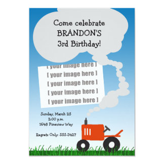 Tractor Photo Invitation: Red Tractor Card