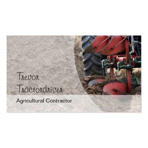 Tractor plowing business card