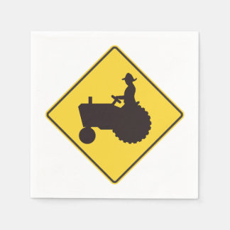 Tractor Road Sign Paper Napkins