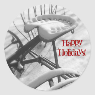 Tractor Seat in Snow: Happy Holidays Envelope Seal