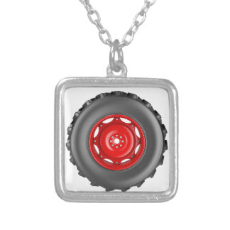 Tractor wheel silver plated necklace