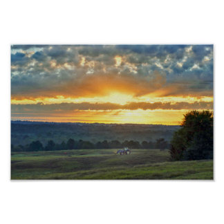 Tractor With a Hay Bale, Texas Ranch Sunrise Poster