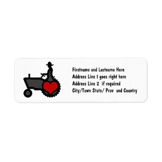 Tractor with Heart  Love the Country Return Address Label