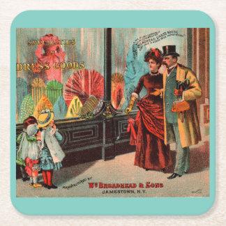 trade card William Broadhead & Sons dress goods Square Paper Coaster