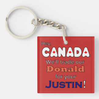 Trade Donald For Justin Resistance Keychain