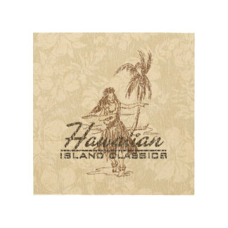 Tradewinds Hawaiian Island Hula Girl Distressed Wood Print