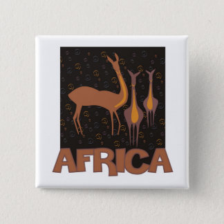 Traditional African brown artwork of antelope 15 Cm Square Badge