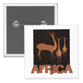 Traditional African brown artwork of antelope 15 Cm Square Badge