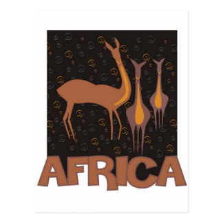 Traditional African brown artwork of antelope Postcard