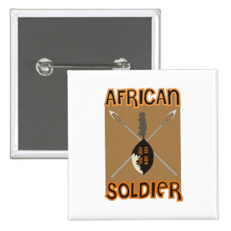 Traditional African Soldier Spear and Shield 15 Cm Square Badge