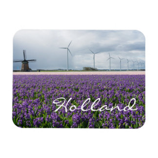 Traditional and modern windmill in Holland text Rectangular Photo Magnet