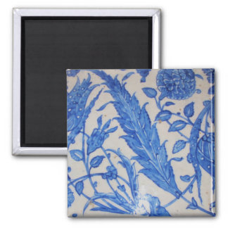Traditional antique Blue and White Ottoman Ceramic Square Magnet