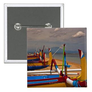Traditional Balanese fishing boats on beach near 15 Cm Square Badge