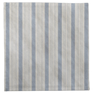 Traditional Bed Ticking Blue and White Napkins