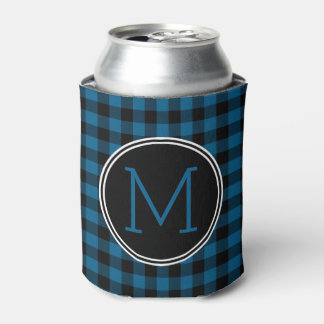 Traditional Blue Black Buffalo Check Plaid Pattern Can Cooler