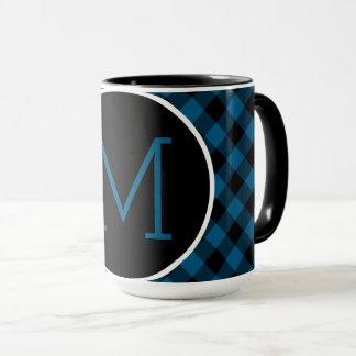 Traditional Blue Black Buffalo Check Plaid Pattern Mug