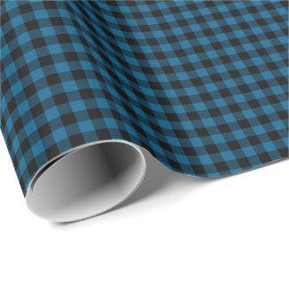 Traditional Blue Black Buffalo Check Plaid Pattern Wrapping Paper