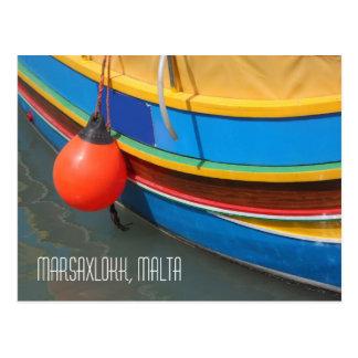 Traditional Blue Yellow Striped Fishing Boat Malta Postcard