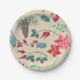 Traditional Botanical Christmas (beige) Paper Plate