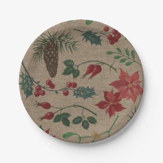 Traditional Botanical Christmas Paper Plate