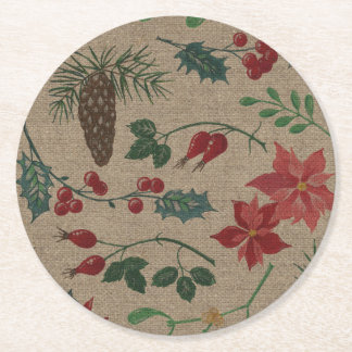 Traditional Botanical Christmas Round Paper Coaster