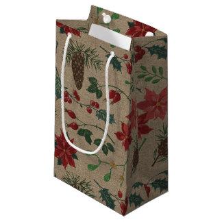 Traditional Botanical Christmas Small Gift Bag