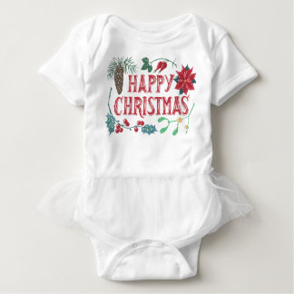 Traditional Botanical Christmas (white) Baby Bodysuit