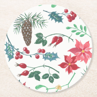 Traditional Botanical Christmas (white) Round Paper Coaster