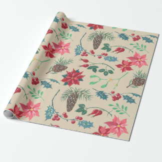 Traditional Botanical Christmas Wrapping Paper