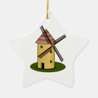 Traditional Cartoon European Windmill Ceramic Star Decoration