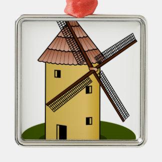 Traditional Cartoon European Windmill Silver-Colored Square Decoration