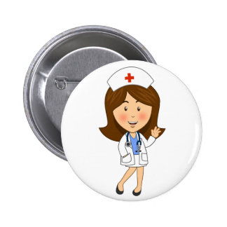 Traditional Cartoon Nurse Waving 6 Cm Round Badge