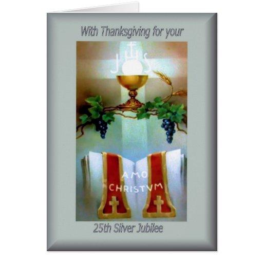 Traditional Catholic 25th Anniversary  ordination Greeting Cards