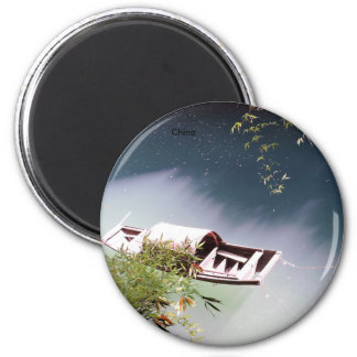 Traditional chinese boat 6 cm round magnet
