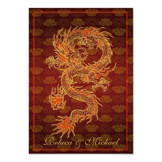 Traditional Chinese Red Dragon 13 Cm X 18 Cm Invitation Card