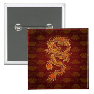 Traditional Chinese Red Dragon 15 Cm Square Badge