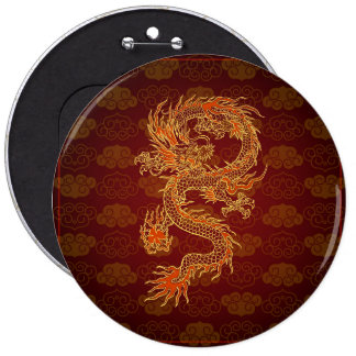 Traditional Chinese Red Dragon 6 Cm Round Badge