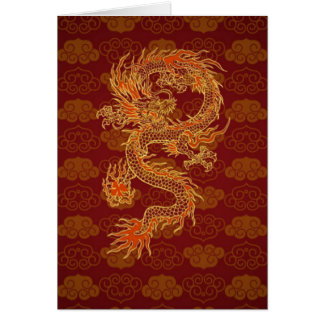 Traditional Chinese Red Dragon Note Card