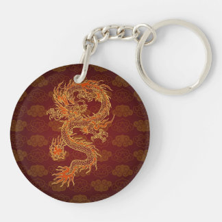 Traditional Chinese Red Dragon Double-Sided Round Acrylic Key Ring