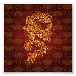 Traditional Chinese Red Dragon Art Photo
