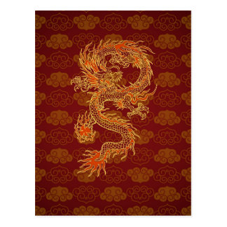 Traditional Chinese Red Dragon Postcard