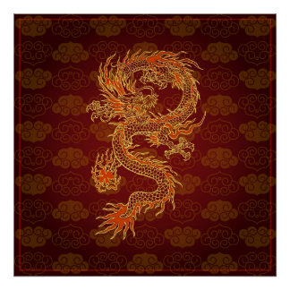 Traditional Chinese Red Dragon Poster
