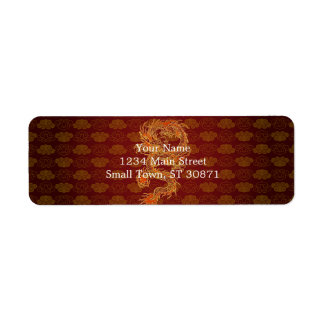 Traditional Chinese Red Dragon Return Address Label