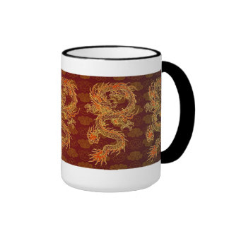 Traditional Chinese Red Dragon Ringer Mug