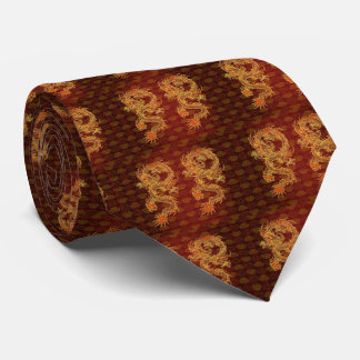 Traditional Chinese Red Dragon Tie