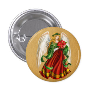 Traditional Christmas Angel 3 Cm Round Badge